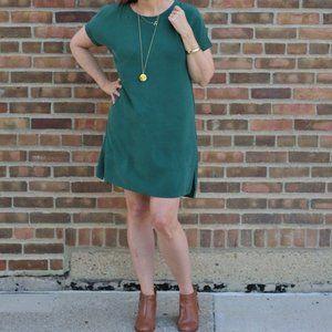 Grana Chinese Silk Tee Dress Pine Green